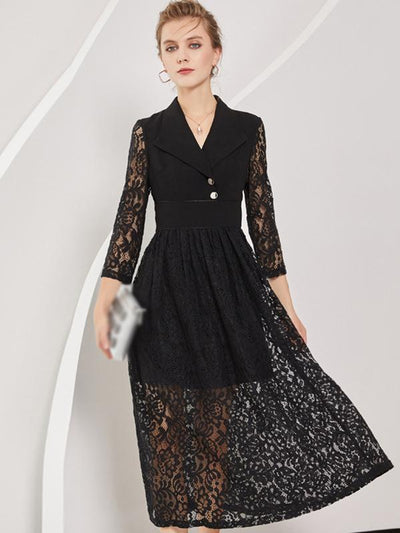 Elegant Lace Stitching Lapel Collar Hollow Out Skater Dress
