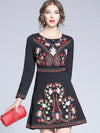 Elegant Embroidery Print A-Line Bodycon Dress