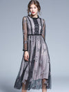 Perspective Stitching Embroidery Mesh Maxi Dress