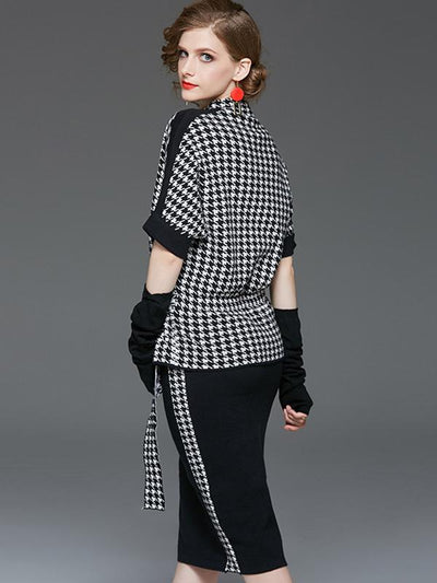 Houndstooth Knit Two Piece With Oversleeve Sweater Dress