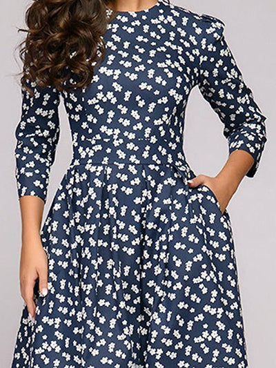 Vintage A-Line Pocket Floral Skater Dress