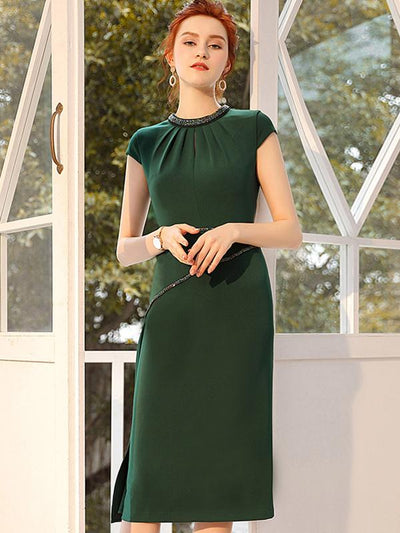 Elegant Rhinestone Pleated Slit Solid Bodycon Dress