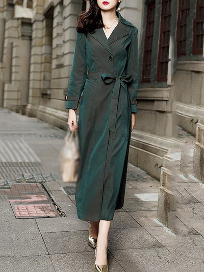 Casual Solid Multicolor Pocket Belted Trench Coat