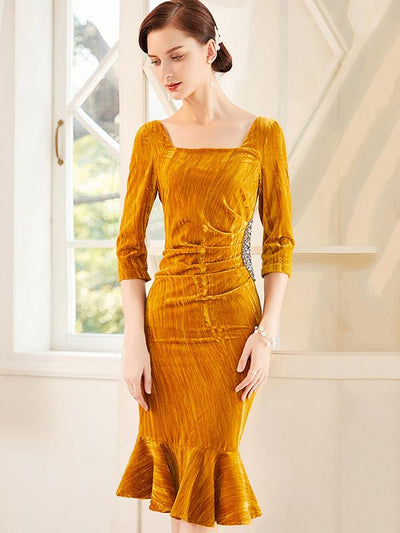 Polish Rhinestone Pleated Ginger Velour Bodycon Dress