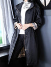 Chic Drawstring zipper With Hood Pocket Trench Coat