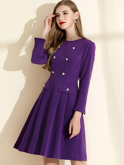 Elegant Purple Double-Breasted A-Line Skater Dress
