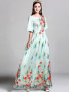 Vintage Embroidery Print Big Hem Maxi Dress