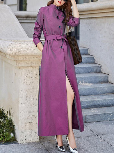 Stylish Stand Collar Multicolor Solid Pocket Trench Coat