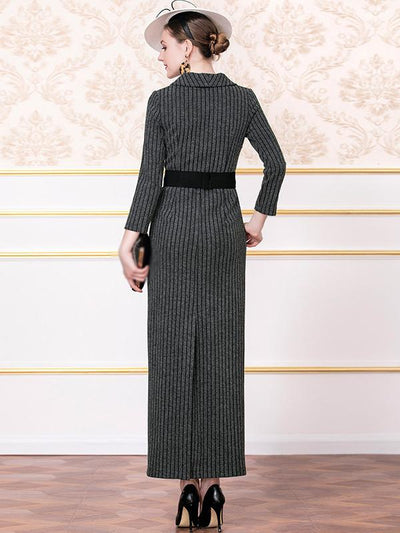 Polish Long Stripe Bodycon Maxi Dress(Without Belt)