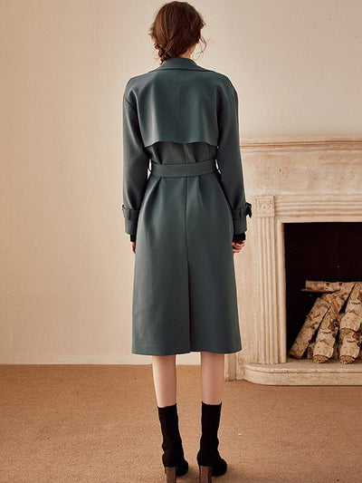 British Solid Double-Breasted Belted Trench Coat
