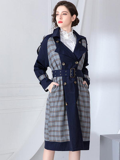 Chic Color-Block Plaid Double-Breasted Trench Coat