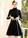 Elegant High Collar Two Piece Knit Sweater Dress