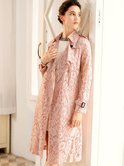 Vintage Lace Print Pocket Belted Trench Coat