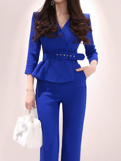 Fashion Fake Two Piece Solid Belted Jumpsuit