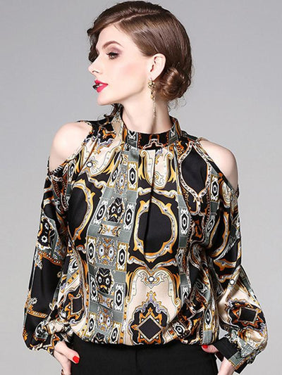 Vintage Off-The-Shoulder Print Blouse