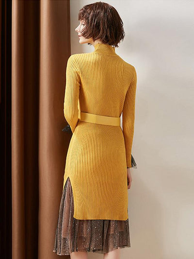 Two Piece Knit Mesh Paillette Sweater Dress