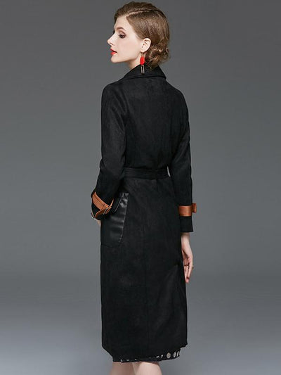 Styleonme Single Breasted Suede Fabric Coat