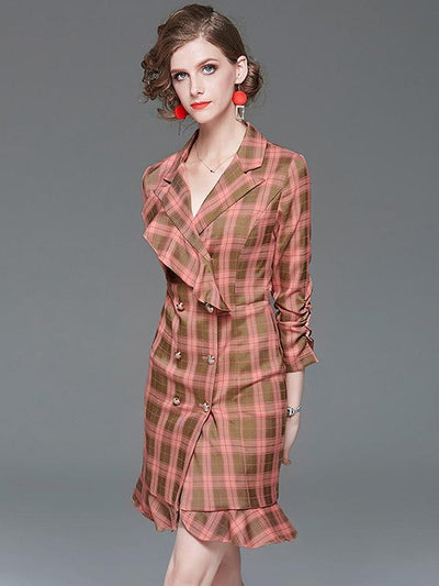 Chanel's Style Plaid Falbala Double-Breasted Bodycon Dress