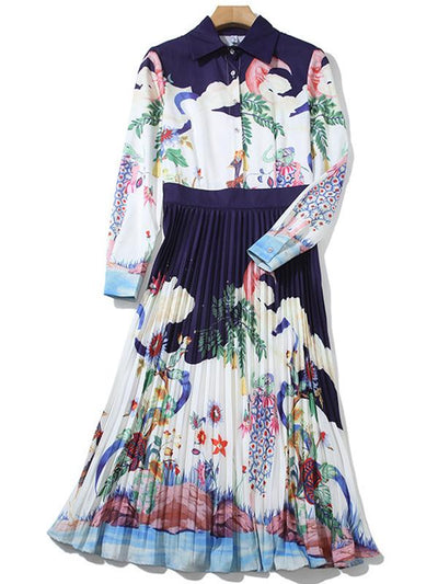 Fashion Fake Two Piece Ruffled A-Line Print Skater Dress