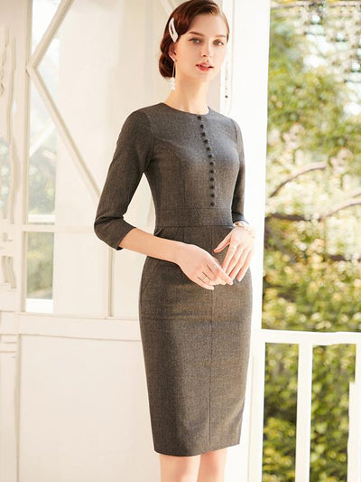Simple Solid Single Breasted 3/4 Sleeve Bodycon Dress