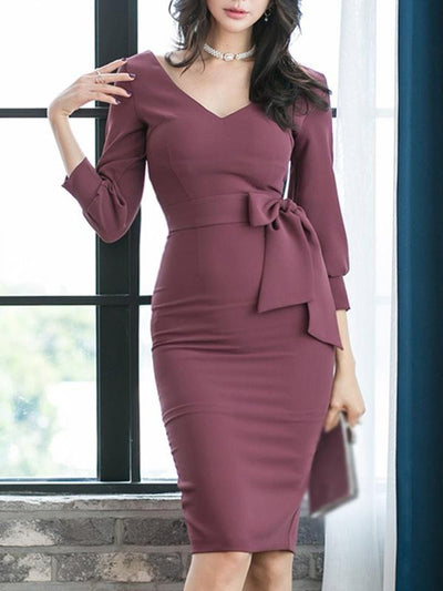 Sexy Bowknot Lacing Solid Coulor Bodycon Dress