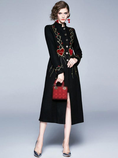 Fashion Single Breasted Embroidery Pocket Coat
