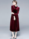 Polish Stand Collar Velour Ruffled Hem Maxi Dress