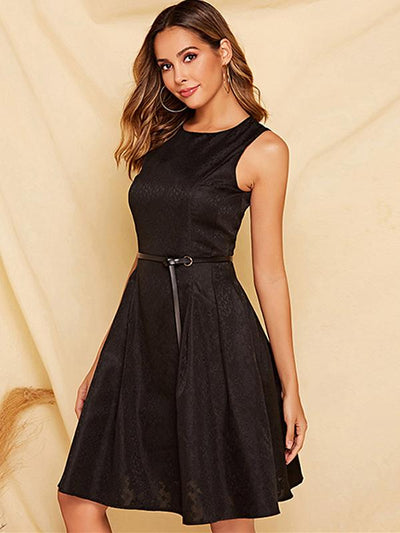 Simple Sleeveless Solid Multicolor Skater Dress