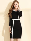 Casual Hit Color Slim Knit Sweater Dress