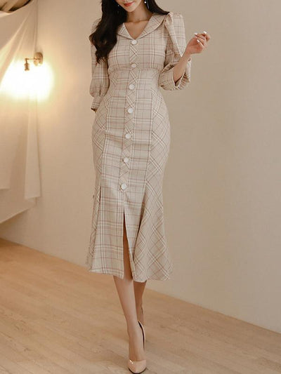 British Fishtail Falbala Plaid Puff Sleeve Bodycon Dress