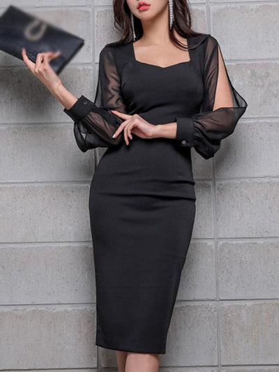 Stylish Slit Sleeve Stitching Chiffon Bodycon Dress