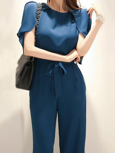 Chic Solid Lacing Belted Chiffon Jumpsuit