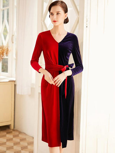 Stylish Two Color-Block Hit Color Velour Bodycon Dress