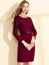 Chic Solid Stitching Knit Bodycon Sweater Dress(Without Belt)