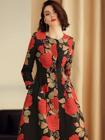 Elegant Flower Print Hit Color A-Line Coat