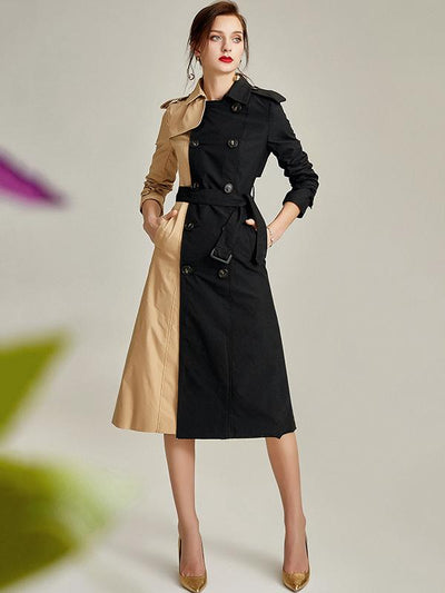 British Double-Breasted Two Color-Block Trench Coat