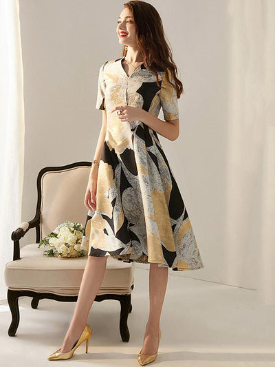 Elegant Flower Jacquard A-Line Skater Dress