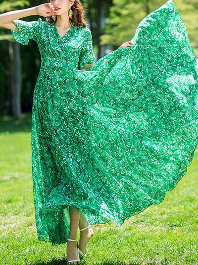 Vintage Falbala Big Hem Print Maxi Dress