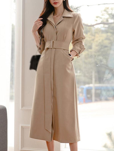 Partysu Solid Pocket Belted Slim Trench Coat