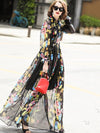 Styleonme Lacing Print Perspective Long Floor Maxi Dress