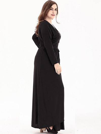 Oversize Pleated V-Neck Solid Floor Maxi Dress