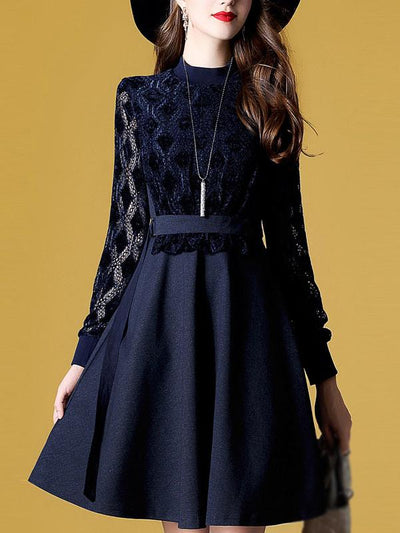 Fashion Stitching Lace Print Skater Dress
