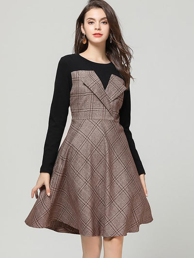 Chic Fake Two Piece Stitching Plaid Skater Dress