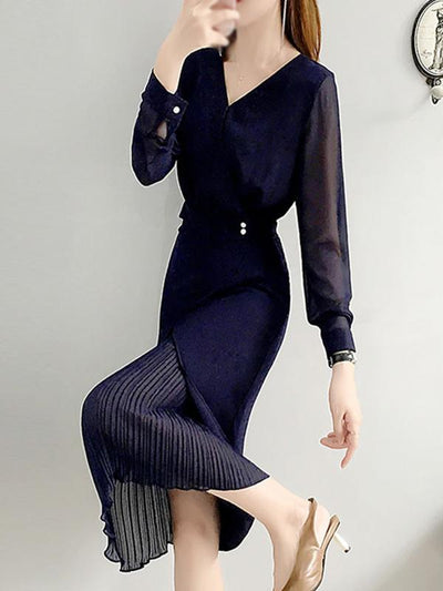 Stitching Chiffon Pleated Two Piece Bodycon Dress