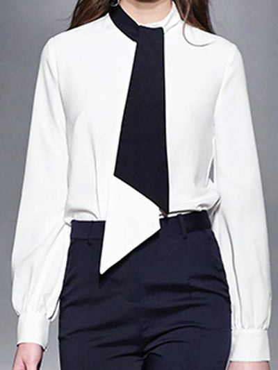 Stylish Lacing Color-Block Hit Color Blouse