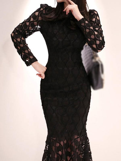 Stylish Lace Print Fishtail Falbala Bodycon Dress
