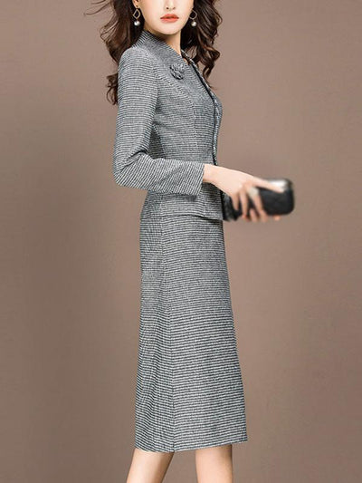Work Houndstooth Jumper Coat Two Piece Bodycon Dress
