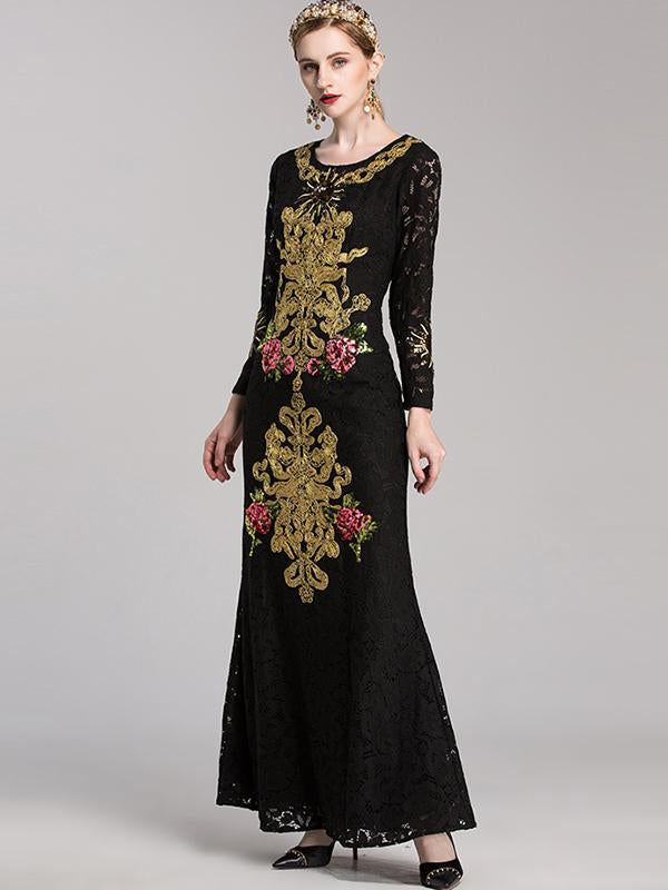 Aristocratic Lace Print Embroidery Fishtail Maxi Dress