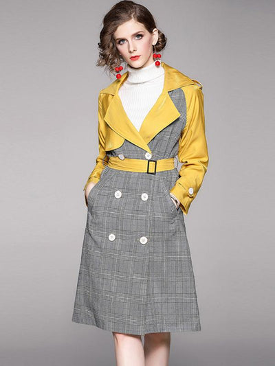 Stitching Plaid Multicolor Double-Breasted Trench Coat