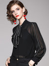 Fashion Perspective Chiffon Bowknot Lacing Blouse